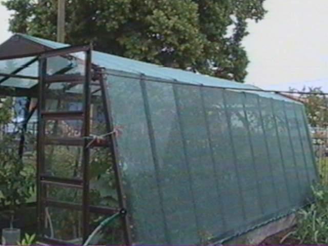 Stínící síť na skleník