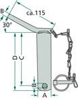 Kolík pro spodní závěs třetího bodu s řetězem a závlačkou schéma